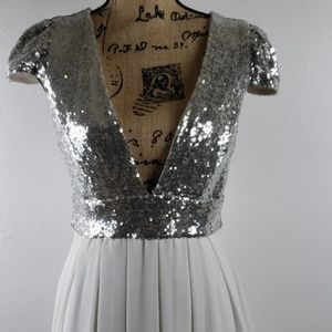 Silver Sequined White Pleated Midi Dress